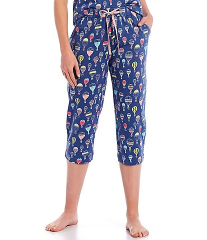 Sleep Sense Hot Air Balloon Print Knit Capri Drawstring Sleep Pants