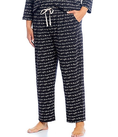 Sleep Sense Plus Script Print Jersey Knit Sleep Pants