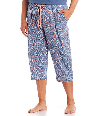 Sleep Sense Plus Size Bicycle Print Knit Capri Sleep Pants