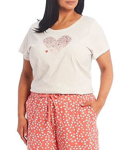 Sleep Sense Plus Size Embroidered Hearts Knit Sleep Tee