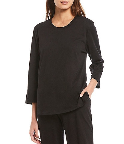 Sleep Sense Solid Jersey Knit 3/4 Sleeve Top