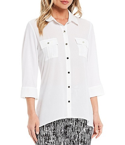 Slim Factor by Investments Bridget 3/4 Sleeve Button Front High-Low Top