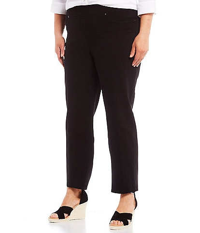 Slim Factor by Investments Plus Size Classic Waist Stretch Denim Slim Straight Pull-On Pants