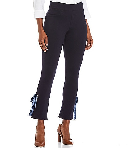 Slim Factor by Investments Classic Waist Pull-On Bow Hem Detail Ankle Pants