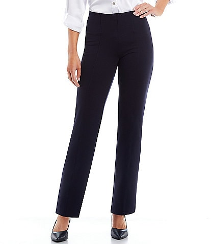 Slim Factor by Investments Ponte Knit No Waist Slim Straight Pants