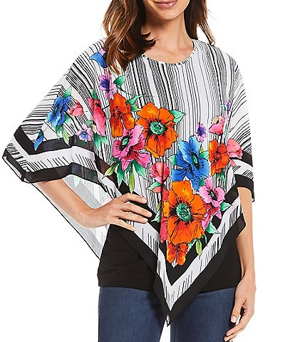 Slim Factor by Investments Floral Scarf Print Overlay Round Neck Poncho Top