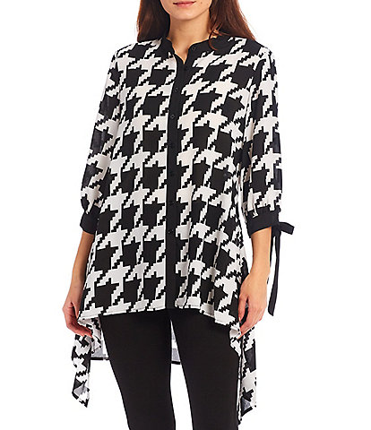 Slim Factor by Investments Houndstooth Print 3/4 Tie Sleeve Button Down High-Low Handkerchief Hem Tunic