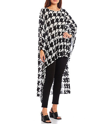 Slim Factor by Investments Houndstooth Print Round Neck Long Sleeve High-Low Mesh Tunic