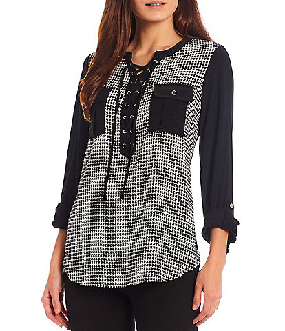 Slim Factor by Investments Knit Long Roll-Tab Sleeve Houndstooth Print Lace Up Front Top