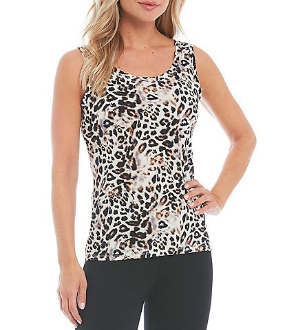 Slim Factor by Investments Leopard Print Scoop Neck Sleeveless Basic Tank