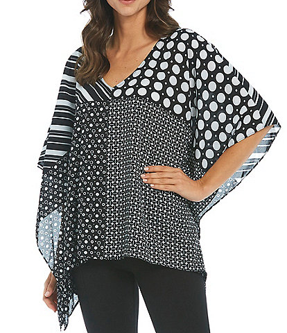 Slim Factor by Investments Multi Block Print V-Neck Poncho Top