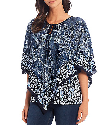 Slim Factor by Investments Patchwork Border Print Round Neck Tie Detail Poncho Top
