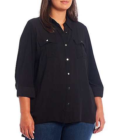 Slim Factor by Investments Plus Size Bridget Point Collar Neck 3/4 Sleeve Button Front High-Low Top