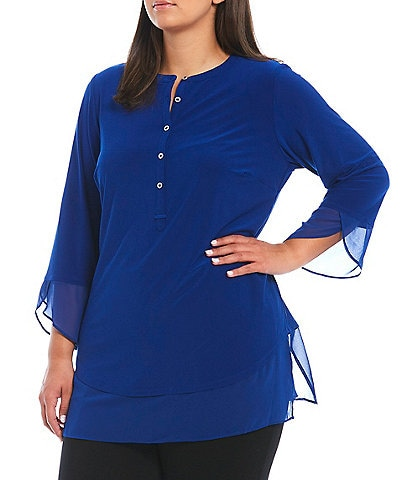 Slim Factor by Investments Plus Size Chiffon Henley-Neck 3/4 Sleeve Contrast Layered Hem Top