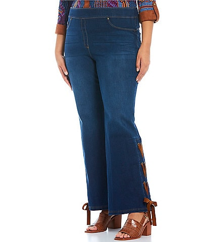 Slim Factor by Investments Plus Size Classic Waist Lace Up Hem Pull-On Flare Pants
