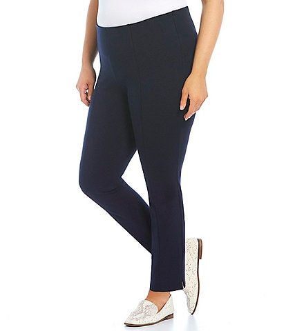 Slim Factor by Investments Plus Size Ponte Knit No-Waist Ankle Pants