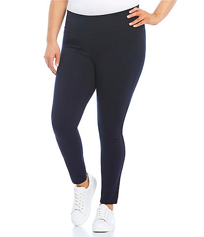 Slim Factor by Investments Plus Size Ponte Knit Wide Waistband Leggings
