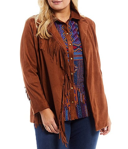 Slim Factor by Investments Plus Size Fringe Shawl Collar Open Front Long Sleeve Blazer