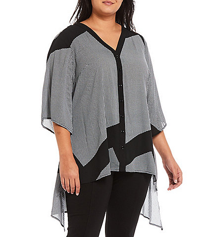 Slim Factor by Investments Plus Size Geometric Print V-Neck 3/4 Sleeve High-Low Hem Button Front Shirt