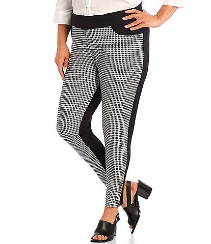 Slim Factor by Investments Plus Size Houndstooth Print Classic Waist Pull-On Leggings
