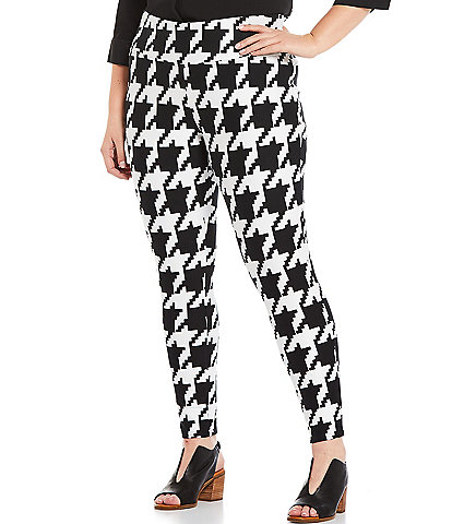 Slim Factor by Investments Plus Size Houndstooth Print Wide Waist Skinny Leg High-Rise Pull-On Leggings
