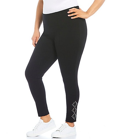Slim Factor by Investments Plus Size Ponte Knit No Waist Embellished Legging