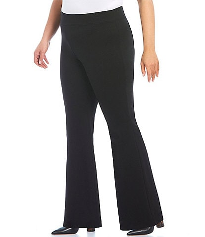 Slim Factor by Investments Plus Size Ponte Knit Classic Waist Flare Leg Pants