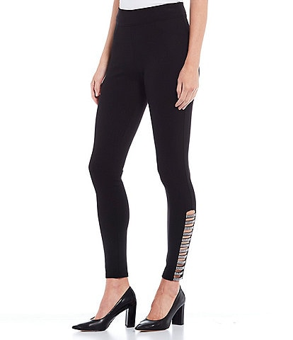 Slim Factor by Investments Ponte Knit Classic Waist Embellished Ladder Hem Leggings
