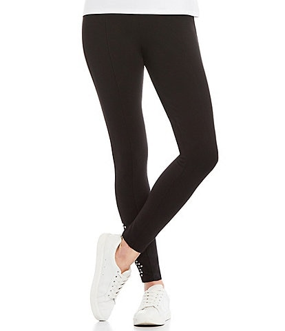 Slim Factor by Investments Ponte Knit Embellished Hem Leggings