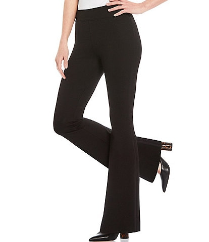 Slim Factor by Investments Ponte Knit Classic Waist Flare Leg Pants