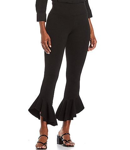Slim Factor by Investments Ponte Knit Wide Waistband Tapered Ruffle Flare Leggings