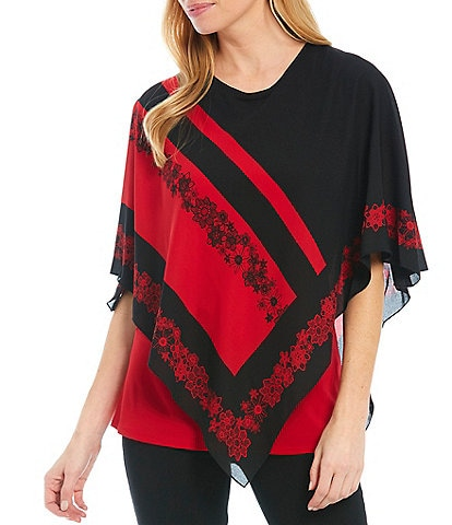 Slim Factor by Investments Crew Neck 3/4 Sleeve Red Lace Floral Print Poncho with Knit Tank