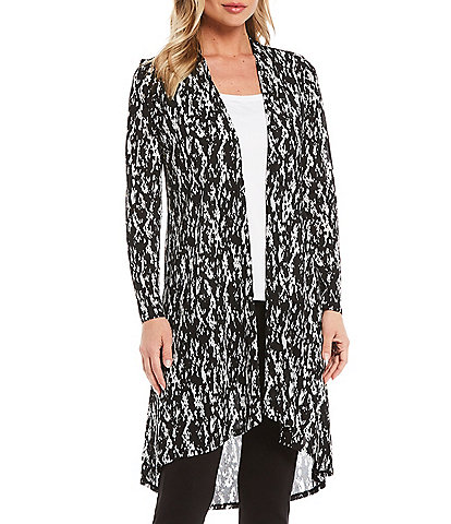 Slim Factor By Investments Snakeskin Print Open Front Mesh Cardigan