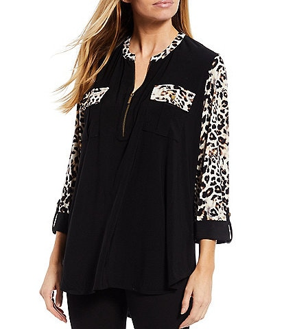 Slim Factor by Investments Solid-Leopard Print Split Round Zip Neck 3/4 Sleeve Top