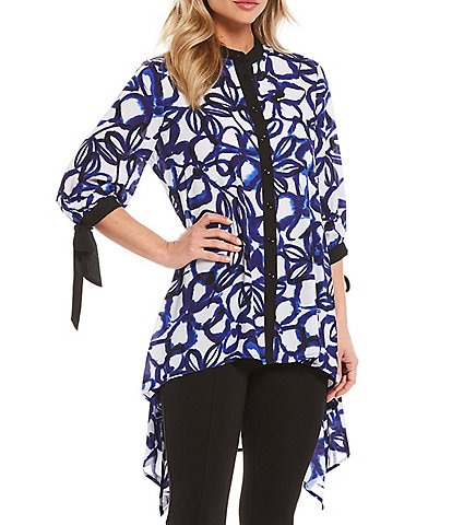 Slim Factor By Investments Tie Dye Floral Print Georgette Tie-Cuffs 3/4 Sleeve Hi-Low Button Down Tunic