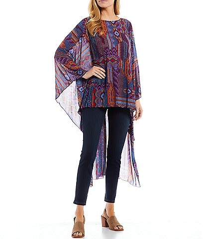 Slim Factor by Investments Printed Long Sleeve Round Neck Mesh Maxi Tunic