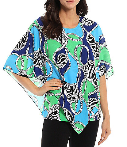 Slim Factor By Investments Zebra Rope Print Round Neck Handkerchief Overlay Poncho Top