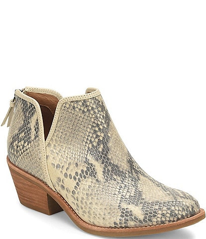 Sofft Abena Snake Print Leather Western Block Heel Ankle Booties