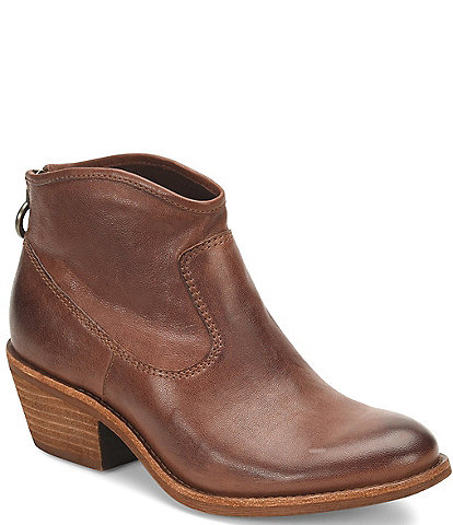 Sofft Aisley Unlined Leather Block Heel Western Booties
