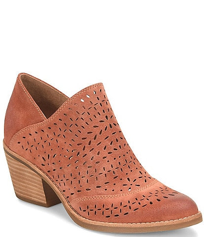 Sofft Amberly Suede Laser-Cut Western Ankle Booties