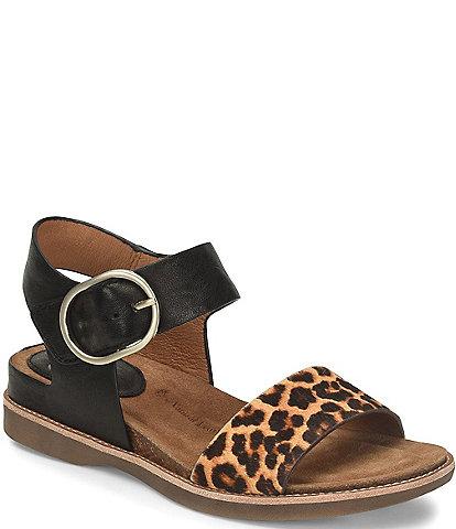 Sofft Bali Leopard Print Leather Sandals