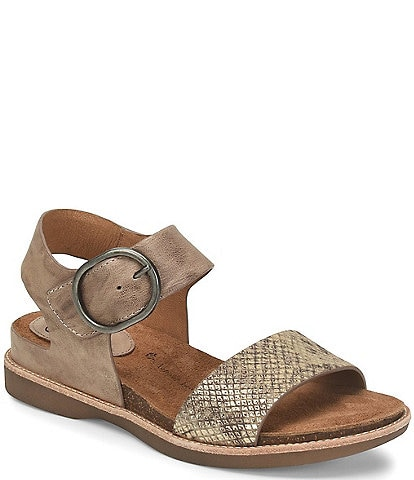 Sofft Bali Metallic Leather Adjustable Buckle Sandals