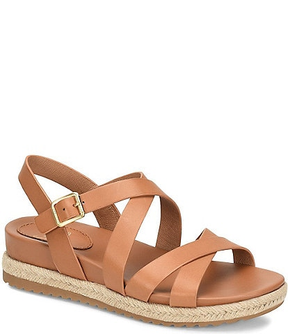 Sofft Beechwood Leather Jute Strappy Sandals