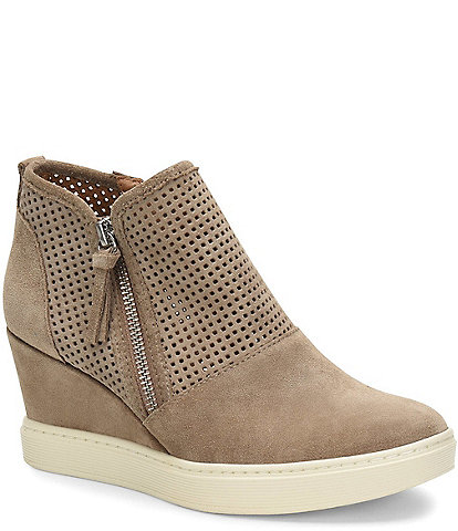 Sofft Bellview Perforated Suede Sporty Wedge Sneakers