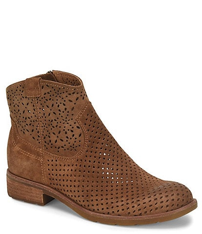 Sofft Brooklee Perforated Suede Leather Western Booties