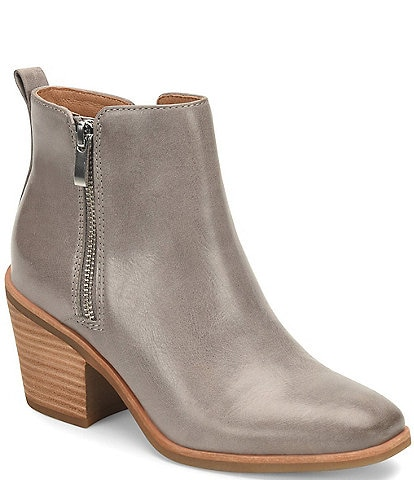 Sofft Canelli Leather Double Zipper Block Heel Booties