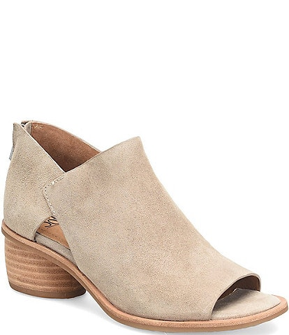 Sofft Carleigh Suede Rounded Stack Heel Peep Toe Pumps