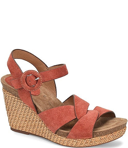 Sofft Casidy Adjustable Buckle Suede Wedge Sandals