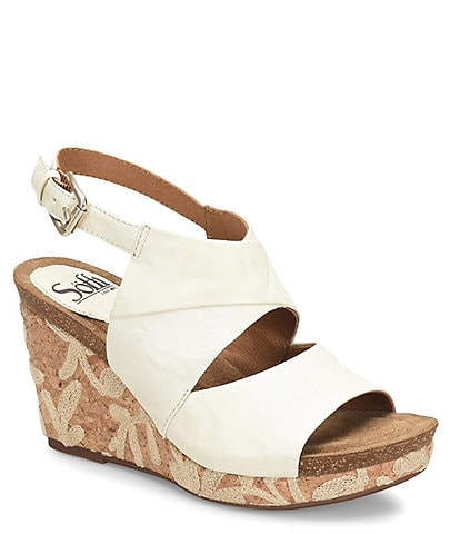 Sofft Corrina Leather & Cork Wedge Sandals