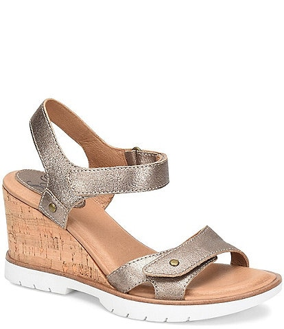 Sofft Cyndy Metallic Leather Sporty Wedge Sandals